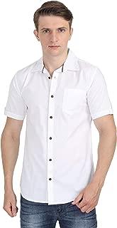Carbonn Blue Men White Half Sleeves Solid Shirt