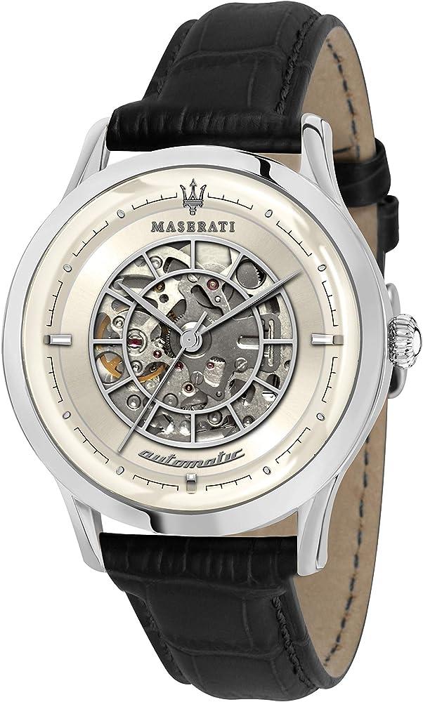 Maserati orologio automatico in acciaio inox di alta qualità  e cinturino in pelle R8821133006