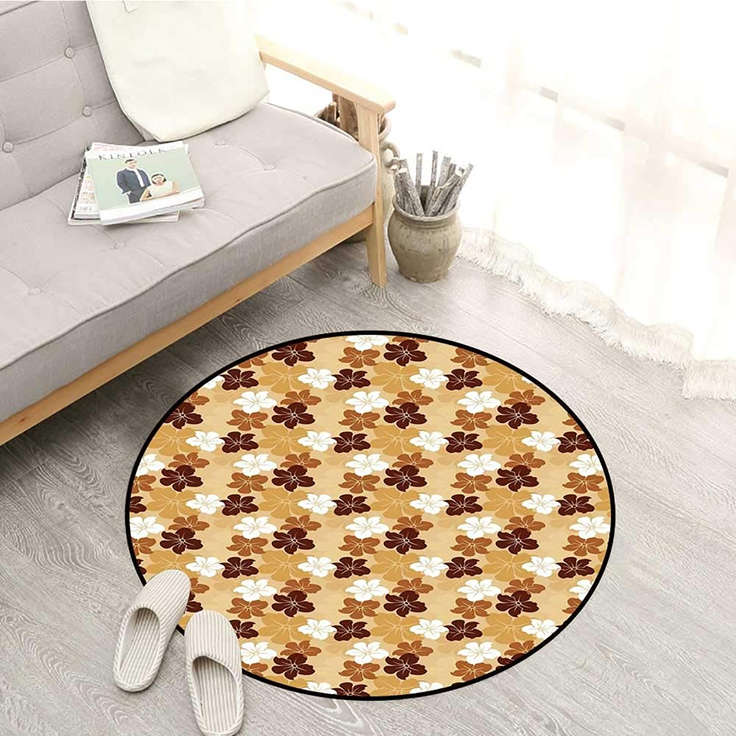 Beige Non-Slip Rugs Hibiscus Flowers Exotic Arrangement Ornamental Natural Flora Silhouette Illustration Sofa Coffee Table Mat 4'11  Multicolor