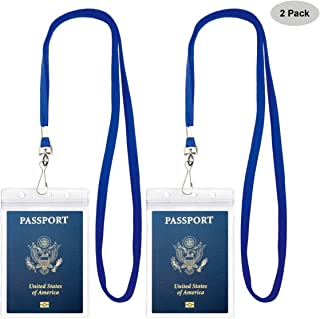 Passport Badge Holders with Extra PVC ID Card Holder and Woven Lanyards Ideal for Cruise and Vacation by Cypes (2Pack Blue Lanyards)