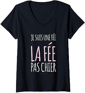 Femme Tee Shirt Femme Manche Courte Humour Je Suis Une Fée T-Shirt avec Col en V