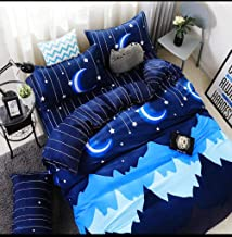 "Magnetic Shadow Glace Cotton King Size Bedsheet for Double Bed 90'' x 100"" , 130 GSM (Star Night)"