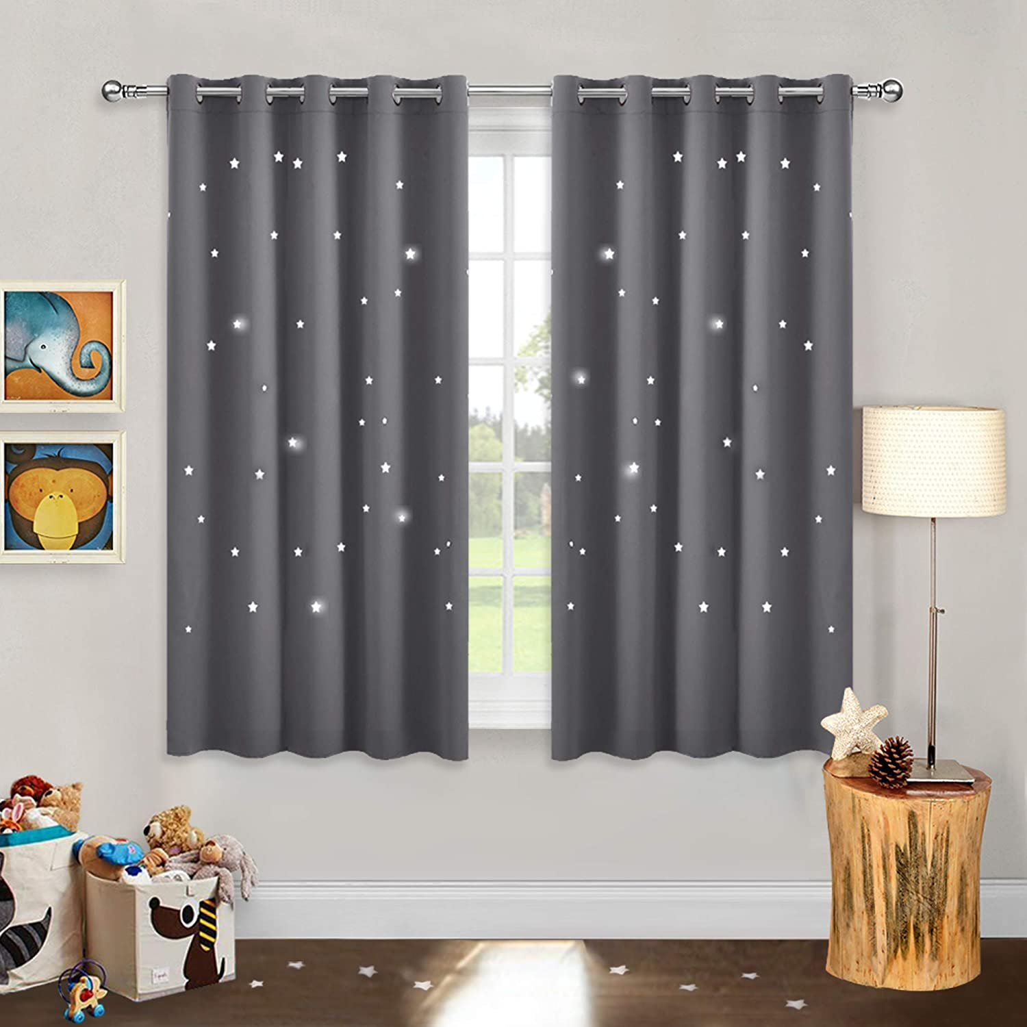 """PONY DANCE Grey Blackout Curtains - Star Curtain Silver Rings Up with Modern Style Wide Window Covering Hollow Out Pattern for Home Decoration, 2 Panels, 66-inch Wide by 54-inch Long, Grey 2x W 66"""" X L 54"""" Hollow Stars   Grey"""