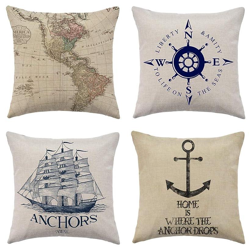 WFLOSUNVE Nautical Beach Decorative Throw Pillow Covers 18