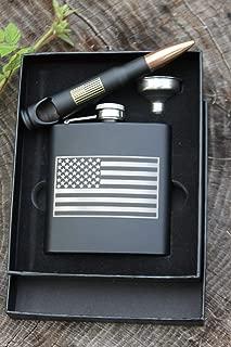 Engraved American Flag Matte Black Stainless Steel Flask and 50 Caliber Bottle Opener Set
