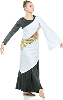 Danzcue Asymmetrical Praise Dance Pullover White-Gold 2XL-3XL-Adult