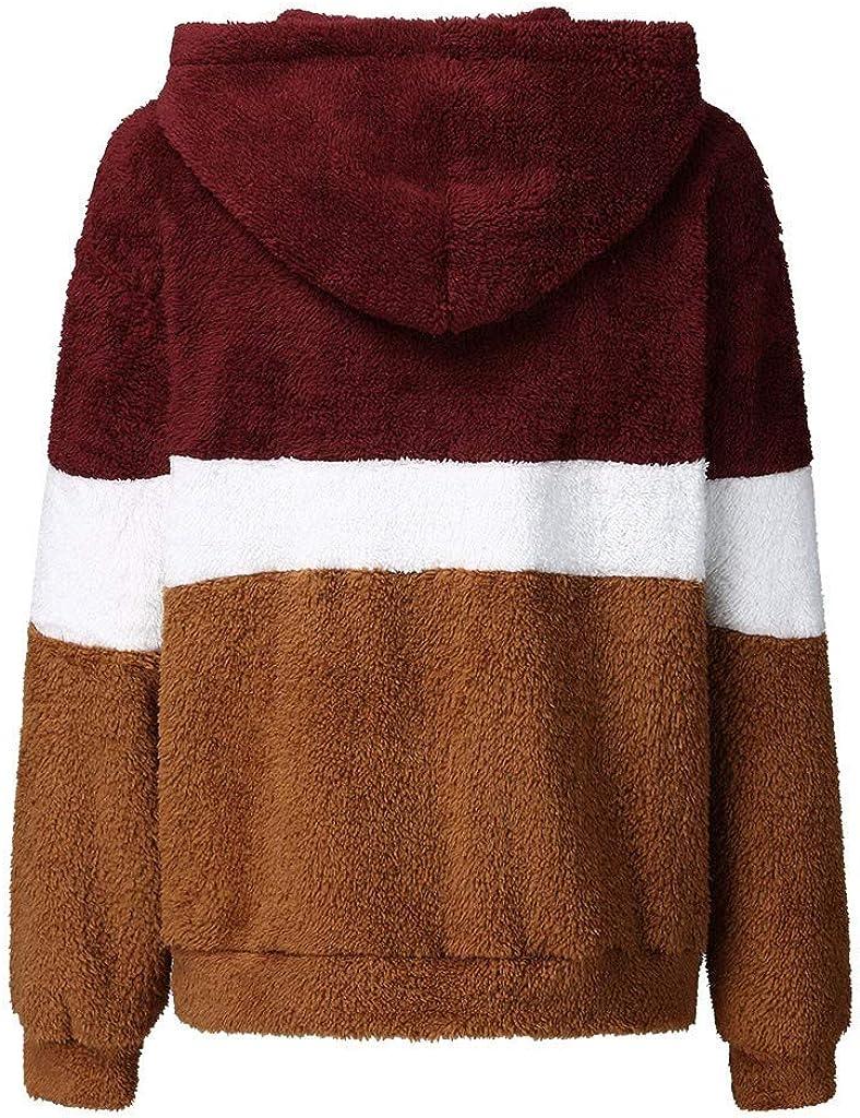 OSYARD Damen Reißverschluss Kapuzenpulli Mantel Winter Warme Wolltaschen Mantel Outwear, Frauen mit Kapuze Fuzzy Sherpa Sweatshirt Fleece Pullover Warmer Yy-02 Rot