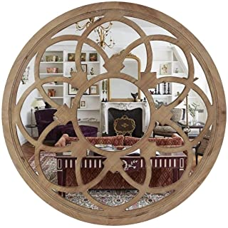 Amazon Brand - Eono Farmhouse Round Wall Mirror 76cm with Wood Frame for Living Room Bedroom Kitchen Entryway Hallway Wall...
