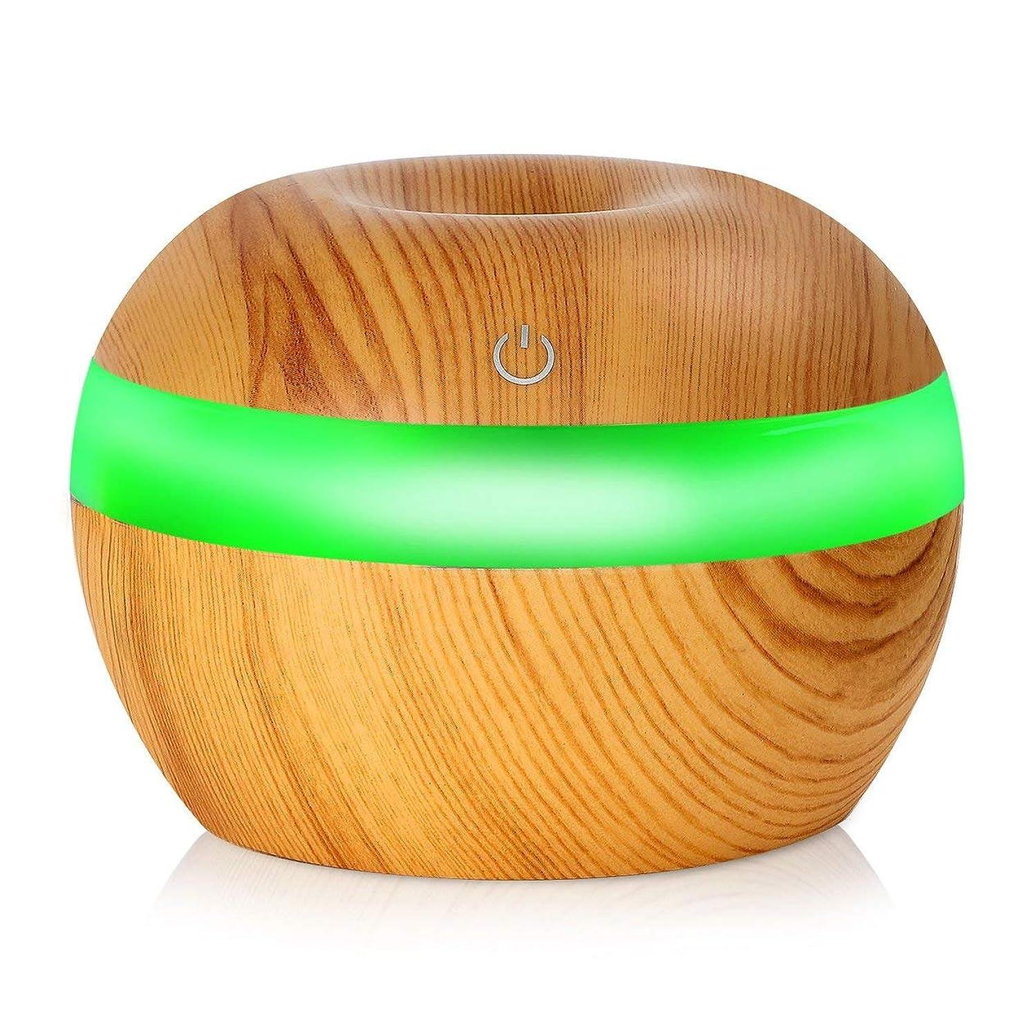 看板不毛の注意Saikogoods 7色の変更Nightlightsと電子 木目 超音波エッセンシャルオイルディフューザー 水分加湿器 空気清浄 桃の木の色 03#