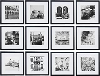 Gallery Perfect Gallery Wall Kit Square Photos with Hanging Template Picture Frame Set, 9.60 x 31.40 x 17.00 Inches, Black...