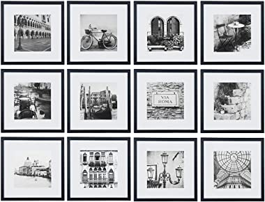 Gallery Perfect Gallery Wall Kit Square Photos with Hanging Template Picture Frame Set, 9.60 x 31.40 x 17.00 Inches, Black, 12 Piece