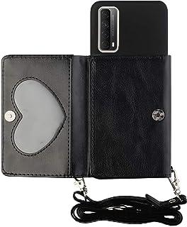 Miagon Axelrem crossbody fodral för Huawei P Smart 2021, halsband snodd plånbok PU-läder korthållare stativskydd med silik...