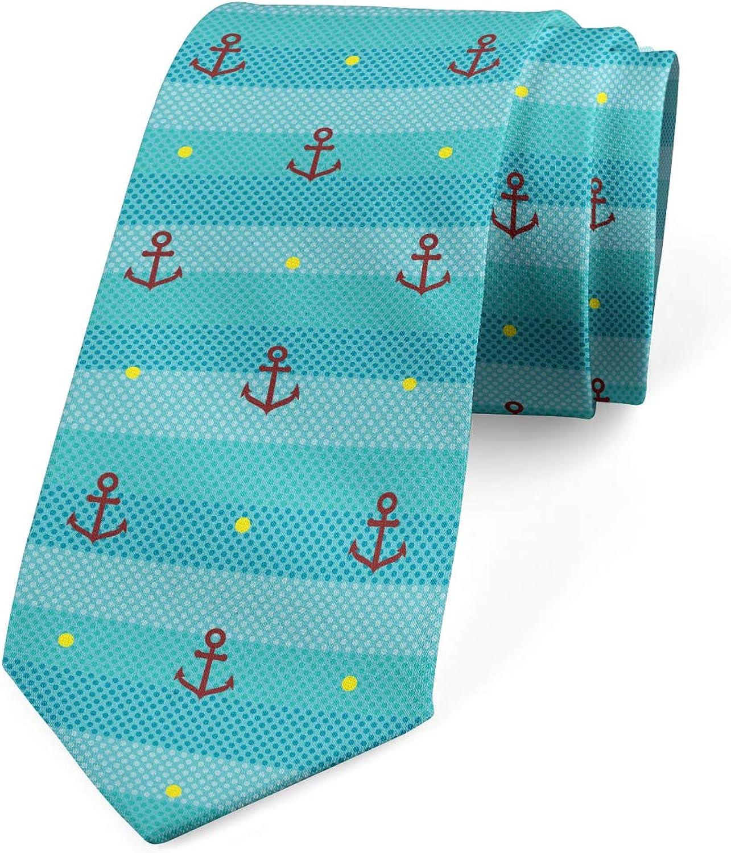 Ambesonne Men's Tie, Anchor Nautical Dotted, Necktie, 3.7