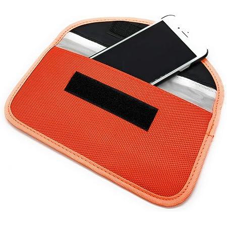 A-CRAFT スマホの電波を完全遮断 電波遮断携帯圏外ポーチ 袋に入れるだけ リレーアタック対策 スマートキー (オレンジ)