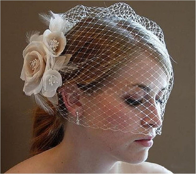 HAQTXI Bride Wedding Birdcage Veil Short White Flowers Lace Bridal Veil with Comb for Women