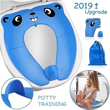 Blu Riduttore Water Bambini RIGHTWELL Portatile Pieghevole Per WC Viaggio Materiale in PP con Borsa per il Trasporto
