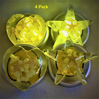 Stick-On Star Heart Tap Touch Battery-Powered Lamp,Handmade Amber Resin Art Push Night Light,Starfish Luminous Stone Inside,for Kid,Easy-Found in Darkness,Cordless,3 Pack,Batteris Not Includ