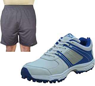 FOOTFIX Men's Ryder White Cricket Shoes for Men, Cricket Sports Shoes with Free Black Shorts