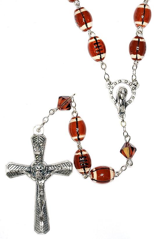 Football Rosary, Football Sport Rosary made with Ceramic and Swarovski Crystal elements