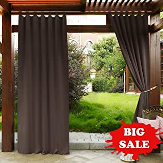 PONY DANCE Patio Outdoor Curtains - Light Block Energy Efficient Solid Thermal Insulated Curtain Draperies UV Reduce Privacy Protect, 52 x 108 inch, Brown, One Panel
