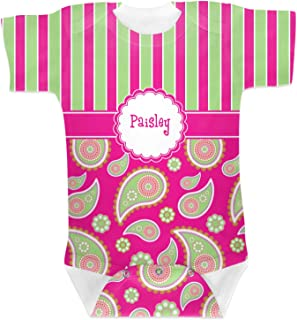 RNK Shops Pink & Green Paisley and Stripes Baby Onesie (Personalized)