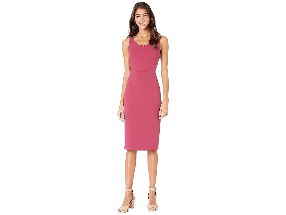 Betsey Johnson Scuba Crepe Midi Dress (Berry) Women