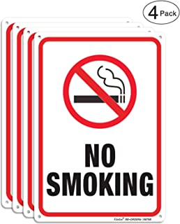 No Smoking Sign,4 Pack No Smoking Metal Reflective Signs - 10 x 7 Inches .040 Rust Free Heavy Duty Aluminum Sign - UV Printed with Professional Graphics - Easy to Mount - Indoor & Outdoor use