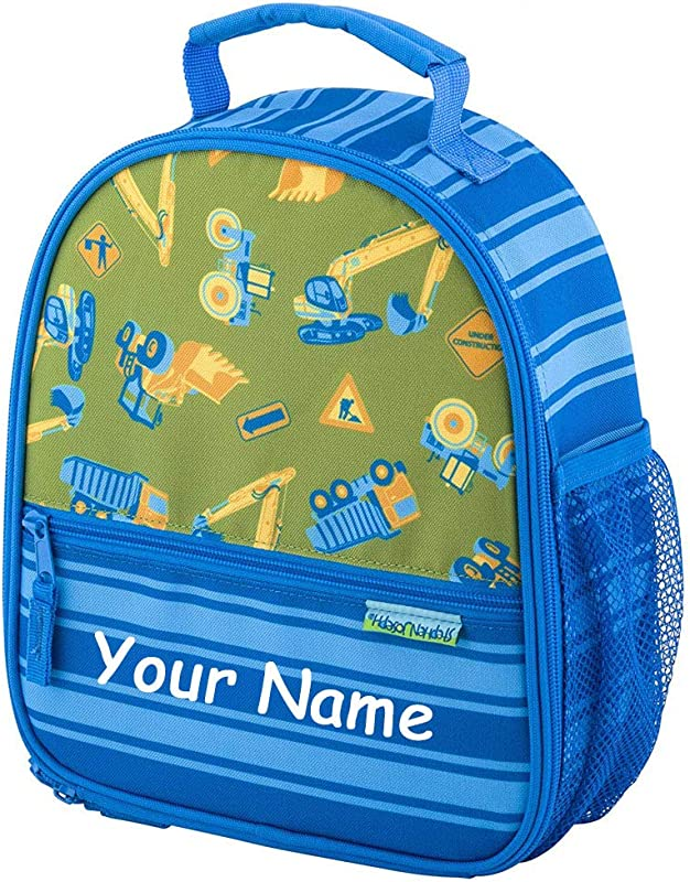 SJ Stephen Joseph Personalized Construction Equipment All Over Print Back To School Lunchbox Lunch Bag With Custom Name
