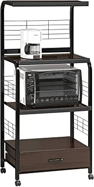 Moveable Kitchen Island Cart on Wheels Sideboard Buffet Black Metal Rolling Portable Open Storage Organizer Microwave Cart &