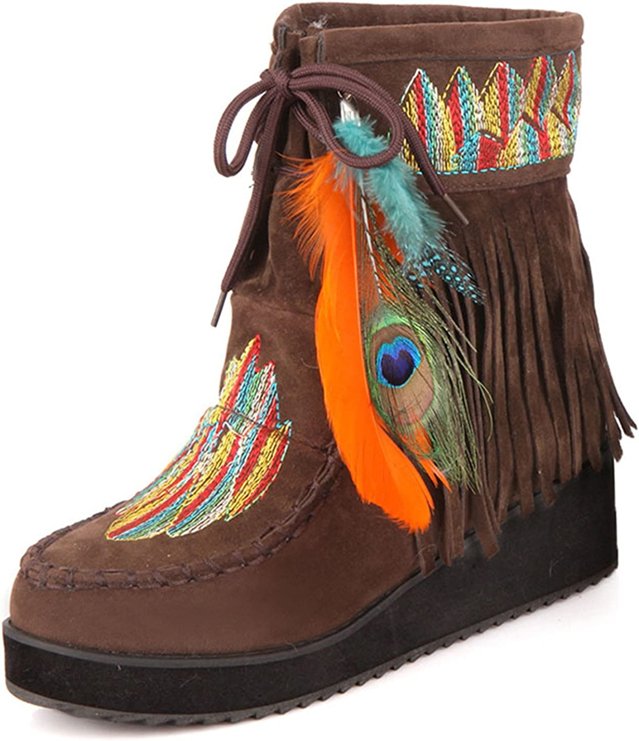 Jeff Tribble Retro Fringe Boots Flock Chunky Feather Women Ankle Short Boots Tassels Big Size shoes Size 34-43