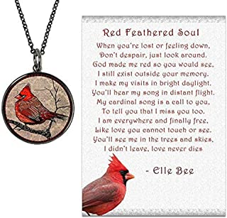 and Spirit Lala Cardinal Necklace with Backside Our Love Never Dies and Red Feathered Soul Poem Card, Gift Box Grief Sympathy