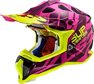 LS2 Motocross-Helm MX 470 Subverter Troop - Matt - Pink/H-V Gelb