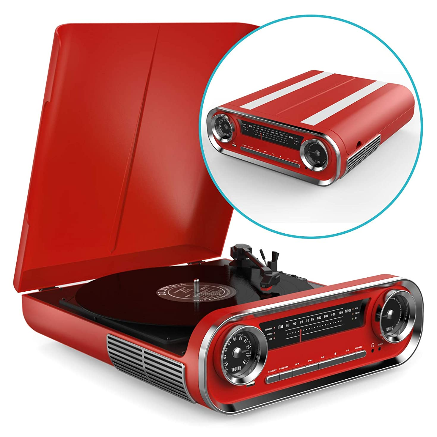 Record Player Bluetooth Vintage Vinyl Turntable with Speakers - USB MP3 Playback / Bluetooth / FM Radio / Vinyl LP Records – RCA, AUX and Headphone Output (Red)