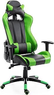 comprar comparacion HOMCOM Silla de Oficina Juvenil Silla para Juegos de PC Ergonómica Reclinable con Respaldo Alto Acolchada Cuero PU (Verde)