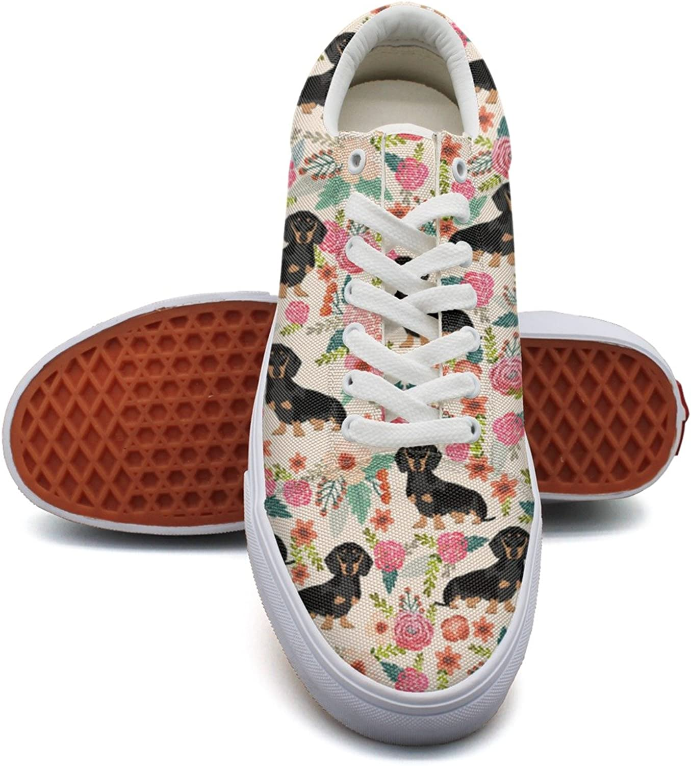 Flowers Florals Dachshund Dog Womens Fashion Canvas Low Top Fashion Cloth shoes for Women's