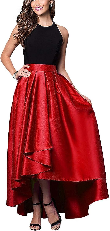 LastBridal Women's Halter High Low Satin Prom Dresses Evening Dresses with Sash Z025