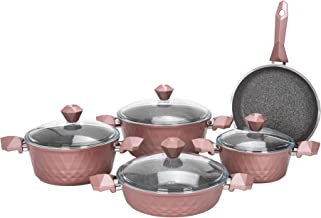 Alberto 9 Pieces Diamond Cookware Set With Glass Lid - Rose Color 100094706
