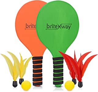 briteNway Paddle Ball Game Bundle with 2 Wooden Racket Paddles, 2 Balls, 4 Shuttlecocks