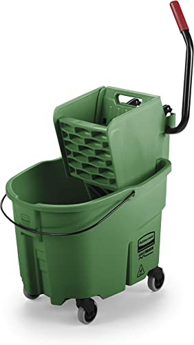 Rubbermaid Commercial WaveBrake 2.0 35 QT Side-Press Mop Bucket and Wringer, Green (FG758888GRN)