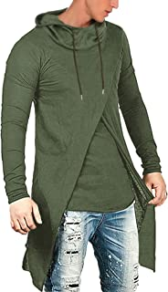COOFANDY Men's Slim Fit Hoodie Lightweight Hooded Sweatshirt Casual Hip Hop Long Length Cloak Cotton Blend Pullover