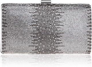 Handbag - Retro Hardware Horizontal Evening Bag, Multi-function Diamond-encrusted Lady's Evening Bag, Black/gold/silver, 22x5x11.5cm Shining (Color : Silver)