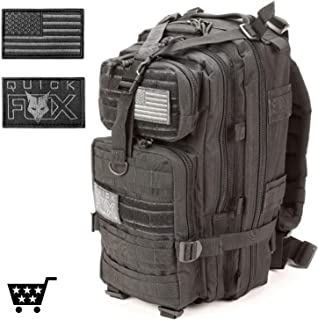 High Trek Military Tactical Backpack for Men, Black Survival Army Molle Bag - 3 Day Assault, Day Pack - with Custom Dog Tag