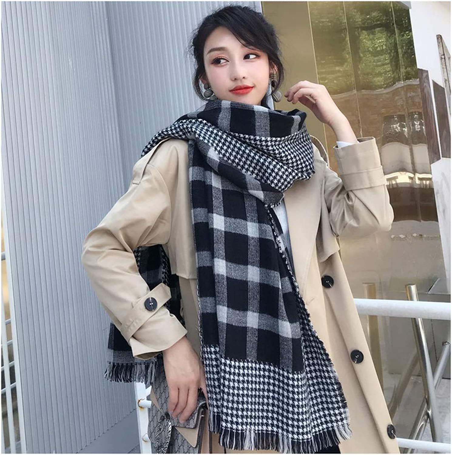 Scarf Houndstooth Spell Square Plaid Scarf Female Autumn Winter Shawl Student Warm Shawl Thick Scarf (color   Black)