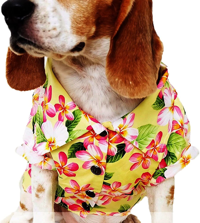 Dog Shirts Summer Camp,Dog Shirts,Dog Clothes,Small,Medium,Large,colorful shirts,T Shirt Pet Clothing , Puppy Clothes ,Summer Dog Apparel,Hawaiian styles,Yellow flowers hawaiian shirts (S)