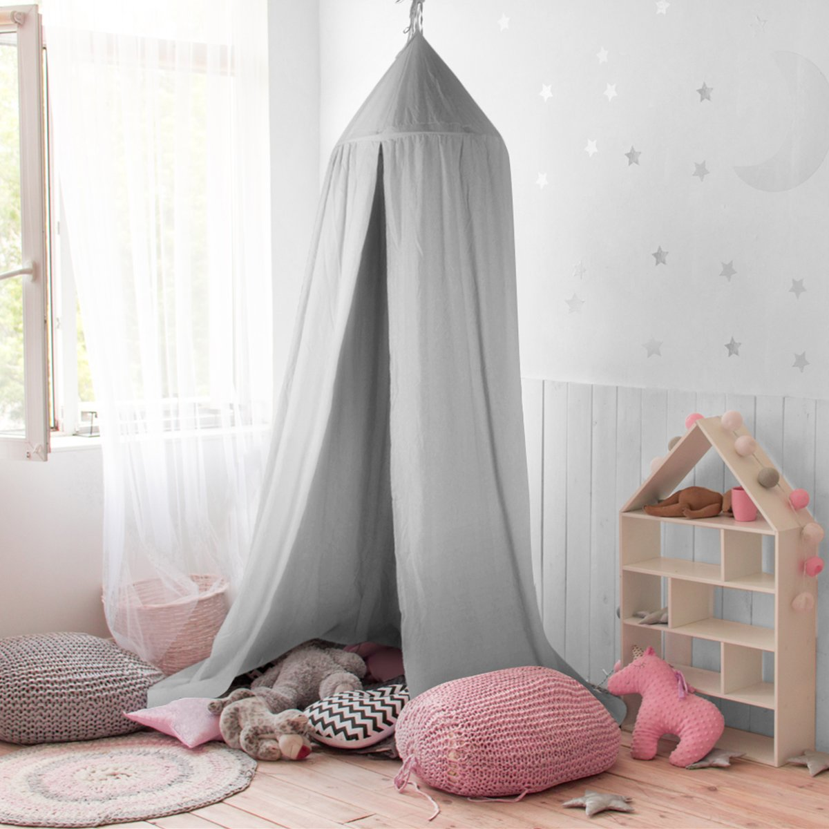 GUSODOR Bed Canopy Kids Dome Cotton Mosquito Net Play Tent Good for Baby Indoor Outdoor Playing & Canopy for Bed: Amazon.co.uk