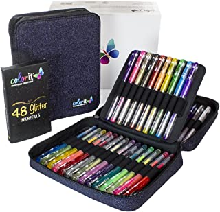 ColorIt 48 Glitter Gel Pens For Adult Coloring Books - New Glitter Colors Metallics Neons, Gel Pens with Case and 48 Matching Ink Refills For 96 Total Glitter Pack