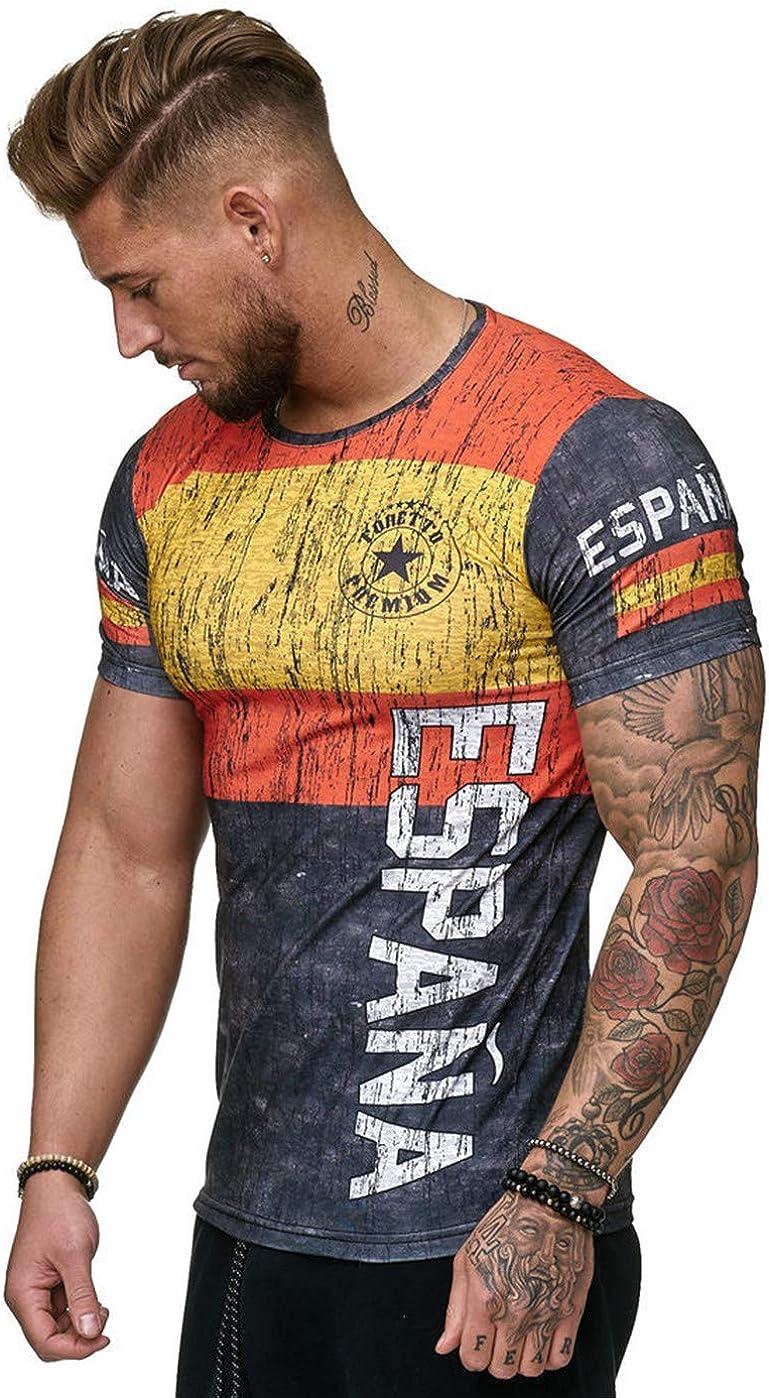 Camisetas Manga Corta Hombre Bandera de España Impresión Camiseta Verano Casual Suelto Camisas tee Shirt Moda O-Cuello Blusa Deportiva Tops: Amazon.es: Ropa y accesorios
