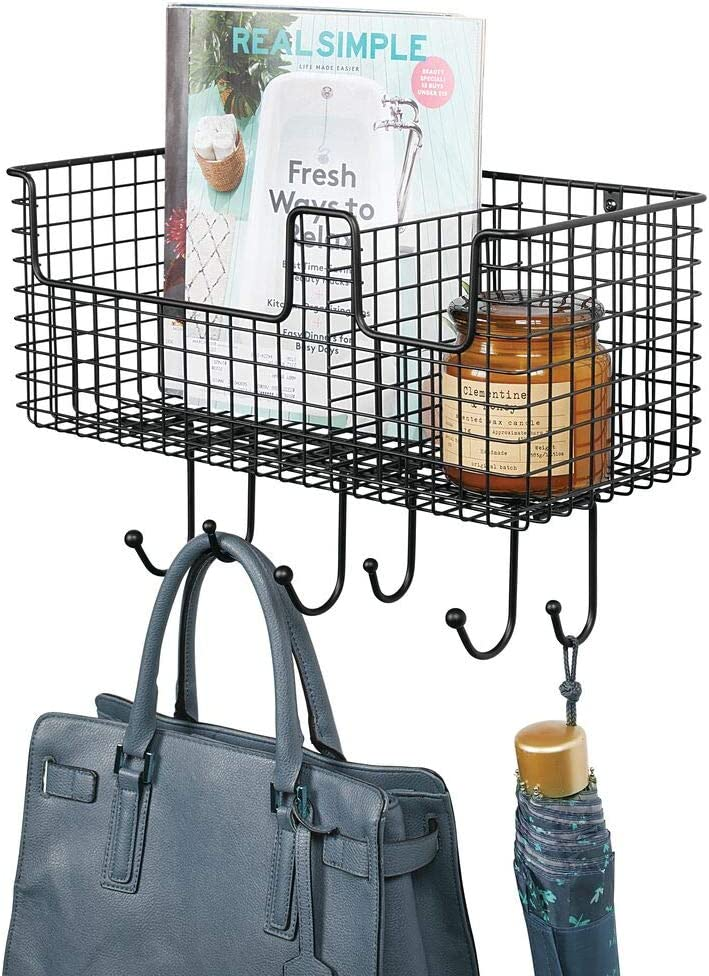 mDesign Animer and price revision OFFicial mail order Metal Wire Farmhouse Wall Organizer Storage Basket Decor
