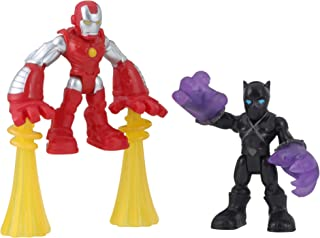 Super Hero Adventures Playskool Heroes Marvel 2-Pack, Collectible 2.5-Inch Black Panther and Iron Man Action Figures, Toys for Kids Ages 3 and Up