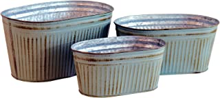 WHW Whole House Worlds French Country Style Oblong Cache Pot Planters, Set of 3, Distressed Grey Finish with Terracotta Undertones, Galvanized Zinc, Corrugated Details, 10.5, 9, and 7.5 Inches Long
